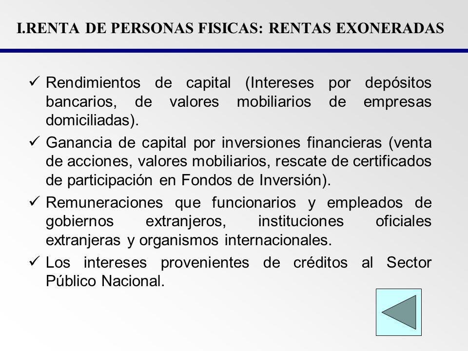 I.R DE PERSONAS JURIFICAS: SUJETOS NO AFECTOS El sector Público (no incluye las empresas públicas).
