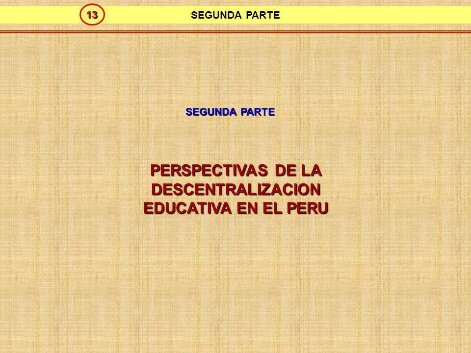PERSPECTIVAS DE LA DESCENTRALIZACIÓN EDUCATIVA EN EL PERÚ GRUPO TECNICO DE TRABAJO