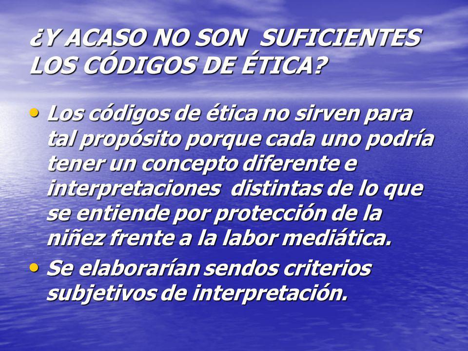 ¿Y ACASO NO SON SUFICIENTES LOS CÓDIGOS DE ÉTICA? Los códigos de ética no sirven para tal propósito porque cada uno podría tener un concepto diferente