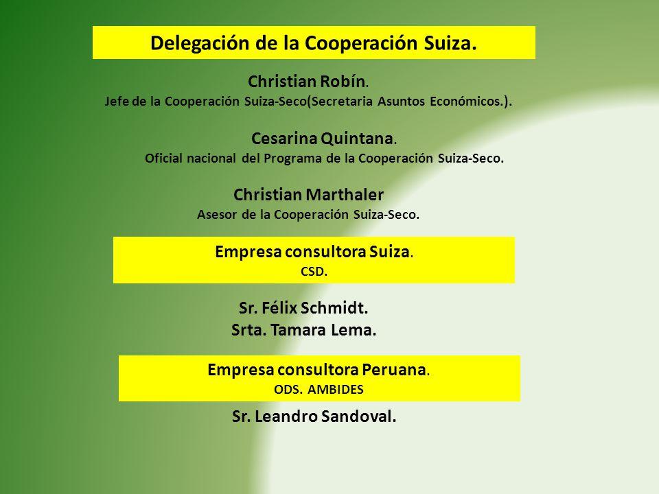 Delegación de la Cooperación Suiza. Christian Robín. Jefe de la Cooperación Suiza-Seco(Secretaria Asuntos Económicos.). Cesarina Quintana. Oficial nac