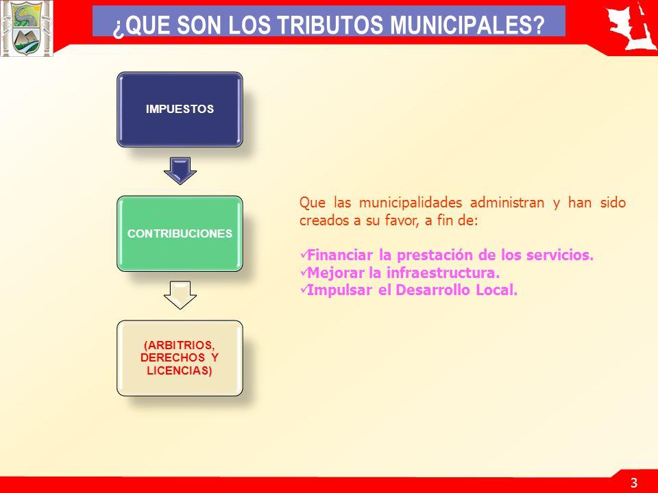 3 IMPUESTOSCONTRIBUCIONES (ARBITRIOS, DERECHOS Y LICENCIAS) ¿QUE SON LOS TRIBUTOS MUNICIPALES.