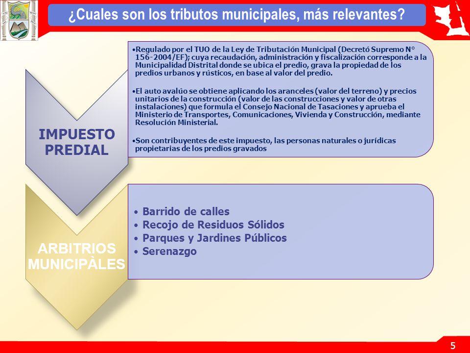 5 ¿Cuales son los tributos municipales, más relevantes.