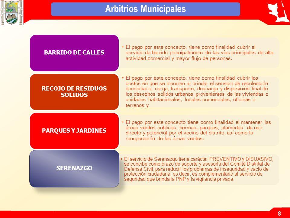 8 Arbitrios Municipales El pago por este concepto, tiene como finalidad cubrir el servicio de barrido principalmente de las vías principales de alta actividad comercial y mayor flujo de personas.
