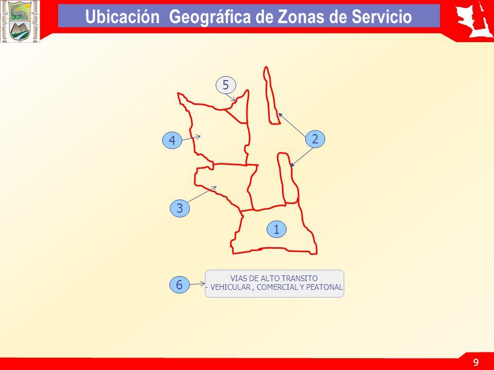 9 Ubicación Geográfica de Zonas de Servicio 2 3 1 4 5 VIAS DE ALTO TRANSITO - VEHICULAR, COMERCIAL Y PEATONAL 6