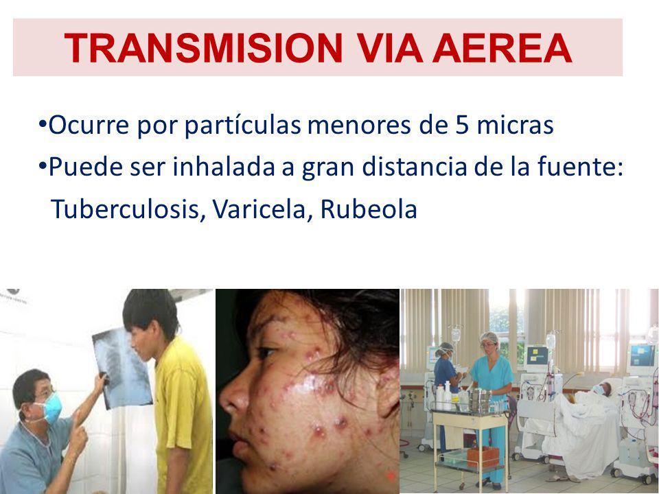 TRANSMISION VIA AEREA Ocurre por partículas menores de 5 micras Puede ser inhalada a gran distancia de la fuente: Tuberculosis, Varicela, Rubeola