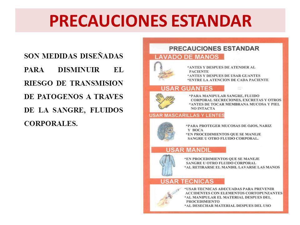 PRECAUCIONES ESTANDAR SON MEDIDAS DISEÑADAS PARA DISMINUIR EL RIESGO DE TRANSMISION DE PATOGENOS A TRAVES DE LA SANGRE, FLUIDOS CORPORALES.