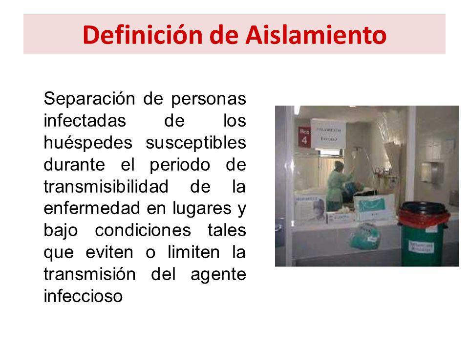 Definición de Aislamiento Separación de personas infectadas de los huéspedes susceptibles durante el periodo de transmisibilidad de la enfermedad en l