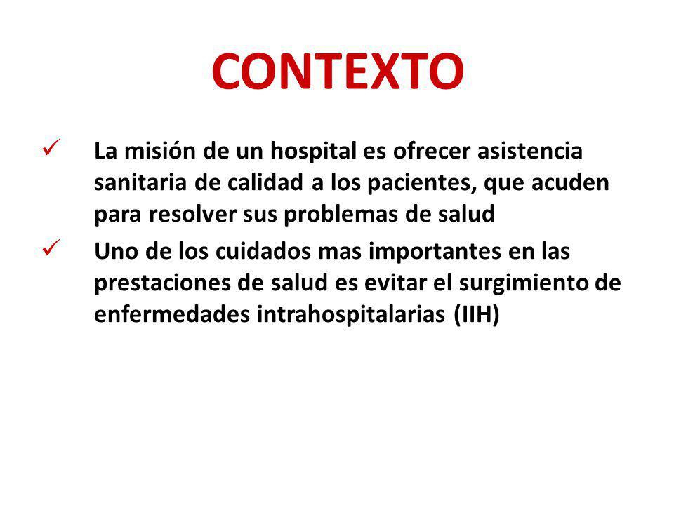 CONTEXTO La misión de un hospital es ofrecer asistencia sanitaria de calidad a los pacientes, que acuden para resolver sus problemas de salud Uno de l