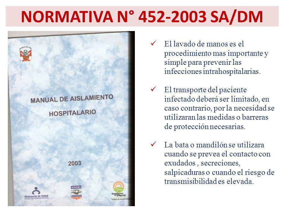 NORMATIVA N° 452-2003 SA/DM El lavado de manos es el procedimiento mas importante y simple para prevenir las infecciones intrahospitalarias. El transp
