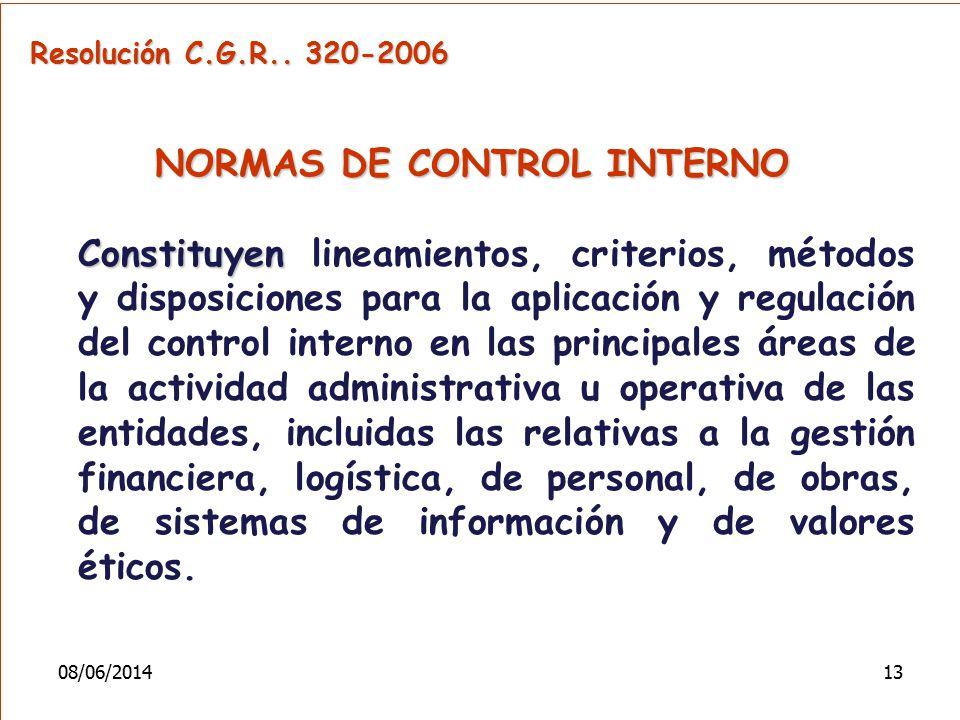 Resolución C.G.R.. 320-2006 NORMAS DE CONTROL INTERNO Constituyen Constituyen lineamientos, criterios, métodos y disposiciones para la aplicación y re