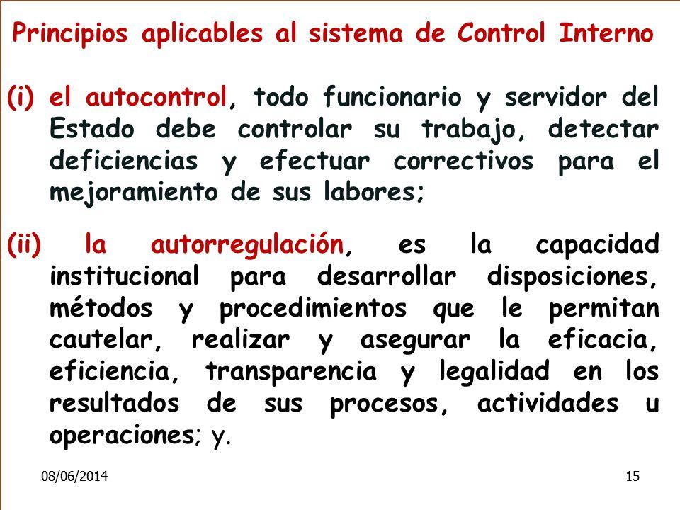 Principios aplicables al sistema de Control Interno (i)el autocontrol, todo funcionario y servidor del Estado debe controlar su trabajo, detectar defi