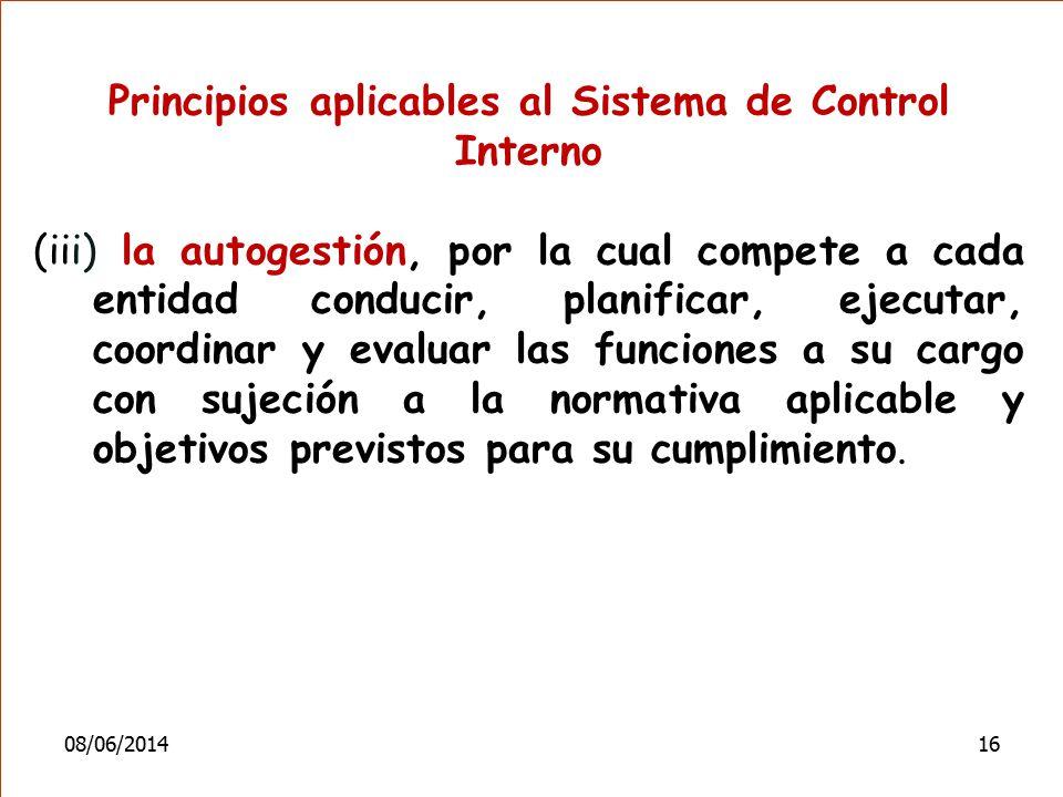 Principios aplicables al Sistema de Control Interno (iii) la autogestión, por la cual compete a cada entidad conducir, planificar, ejecutar, coordinar