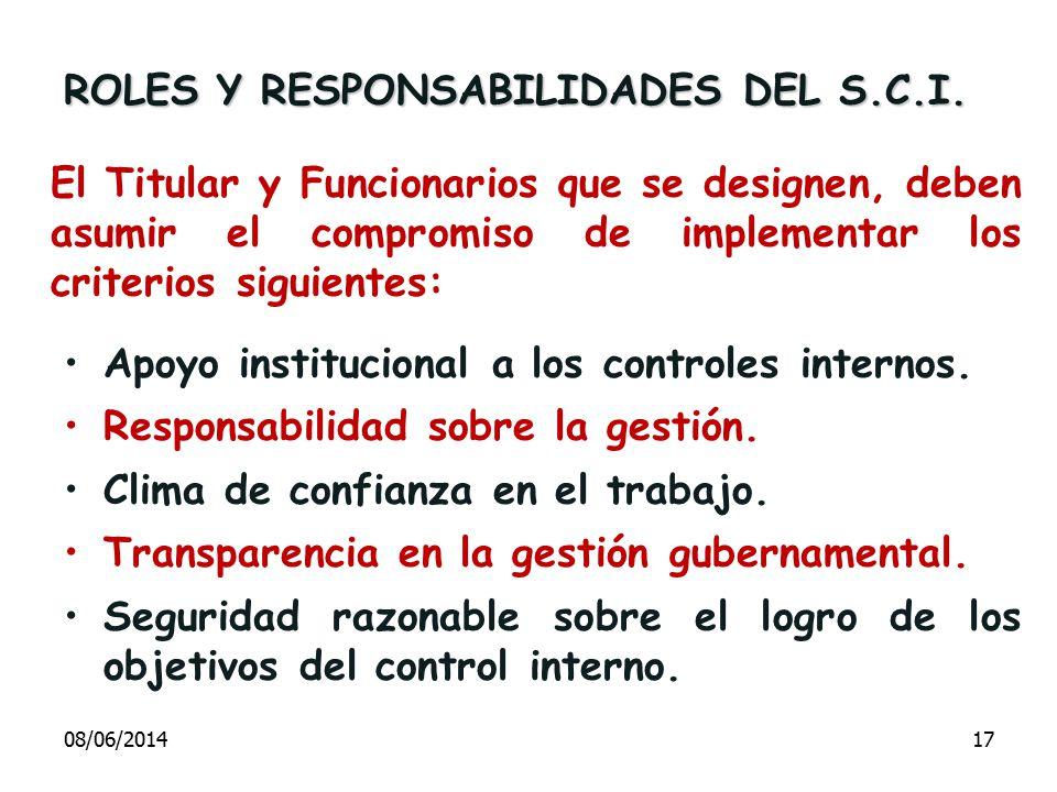 El Titular y Funcionarios que se designen, deben asumir el compromiso de implementar los criterios siguientes: Apoyo institucional a los controles int