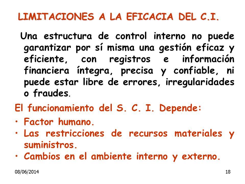 Una estructura de control interno no puede garantizar por sí misma una gestión eficaz y eficiente, con registros e información financiera íntegra, pre