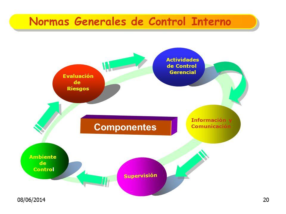 Evaluación de Riesgos Actividades de Control Gerencial Información y Comunicación Supervisión Componentes Ambiente de Control Normas Generales de Cont