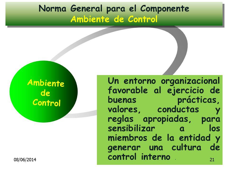 Ambiente de Control Un entorno organizacional favorable al ejercicio de buenas prácticas, valores, conductas y reglas apropiadas, para sensibilizar a