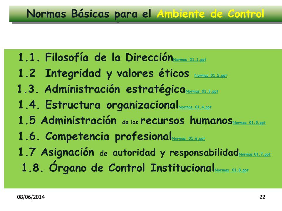 1.1. Filosofía de la Dirección Normas 01.1.ppt Normas 01.1.ppt 1.2 Integridad y valores éticos Normas 01.2.ppt Normas 01.2.ppt 1.3. Administración est
