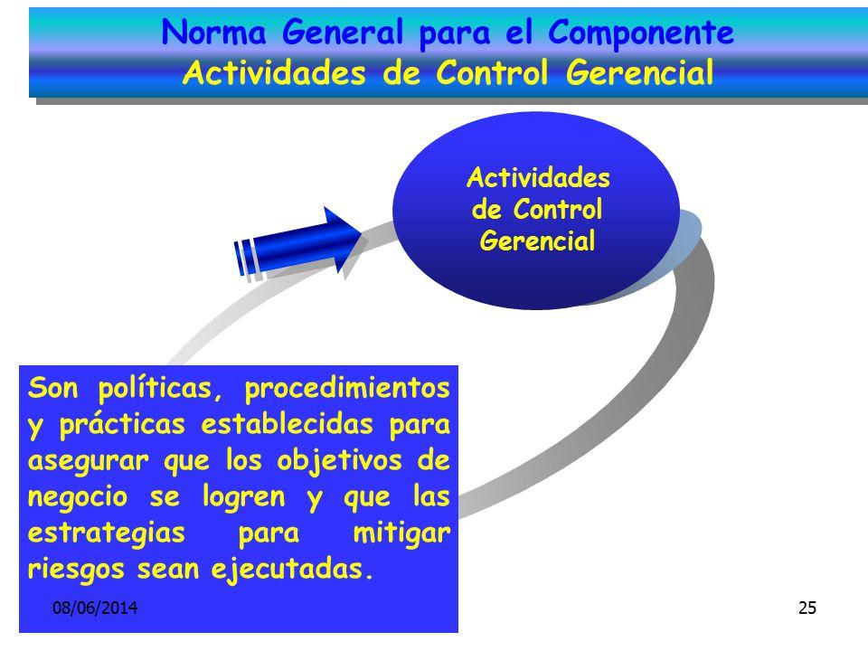 Actividades de Control Gerencial Son políticas, procedimientos y prácticas establecidas para asegurar que los objetivos de negocio se logren y que las