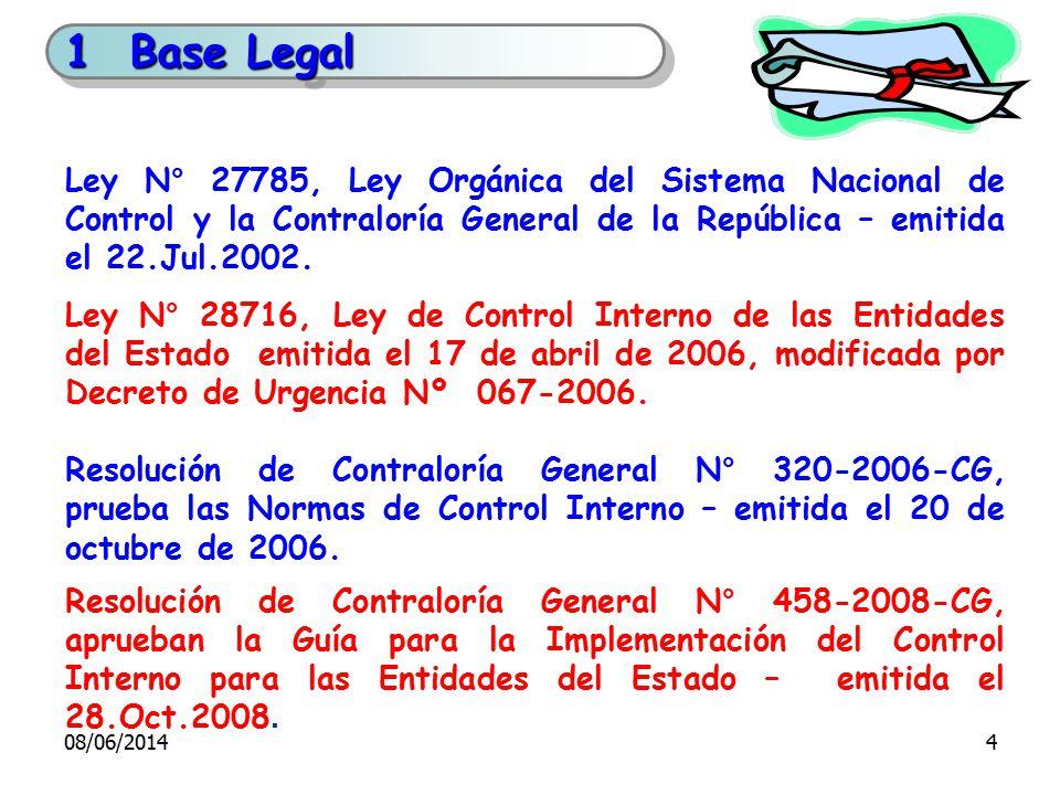 Ley N° 27785, Ley Orgánica del Sistema Nacional de Control y la Contraloría General de la República – emitida el 22.Jul.2002. Ley N° 28716, Ley de Con
