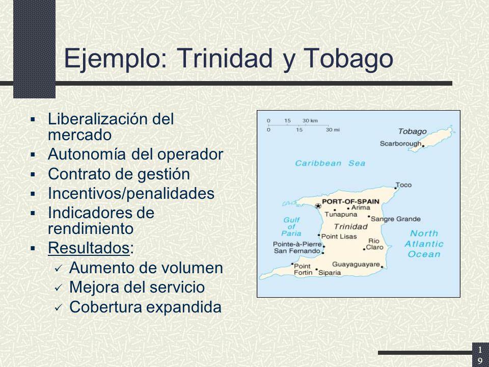 19 Ejemplo: Trinidad y Tobago Liberalización del mercado Autonomía del operador Contrato de gestión Incentivos/penalidades Indicadores de rendimiento Resultados: Aumento de volumen Mejora del servicio Cobertura expandida