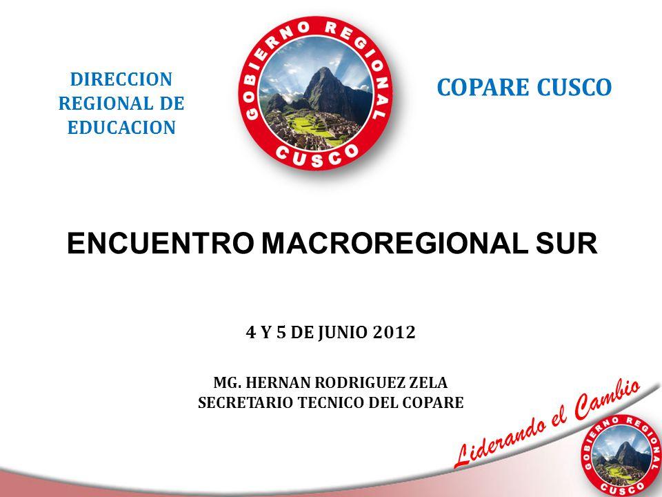 Liderando el Cambio ENCUENTRO MACROREGIONAL SUR DIRECCION REGIONAL DE EDUCACION COPARE CUSCO 4 Y 5 DE JUNIO 2012 MG. HERNAN RODRIGUEZ ZELA SECRETARIO