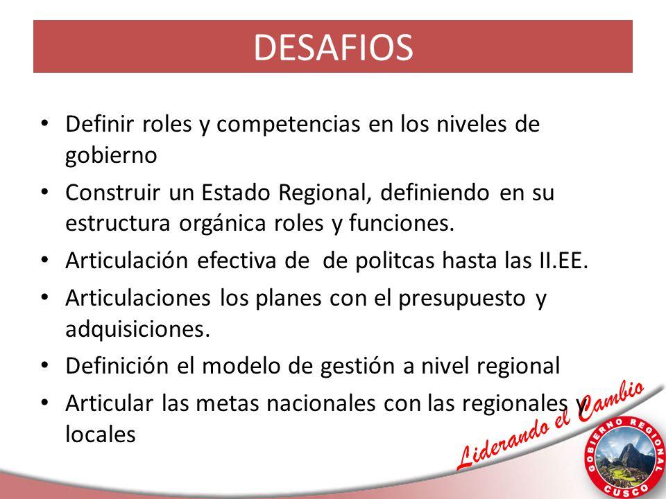 Liderando el Cambio DESAFIOS Definir roles y competencias en los niveles de gobierno Construir un Estado Regional, definiendo en su estructura orgánic