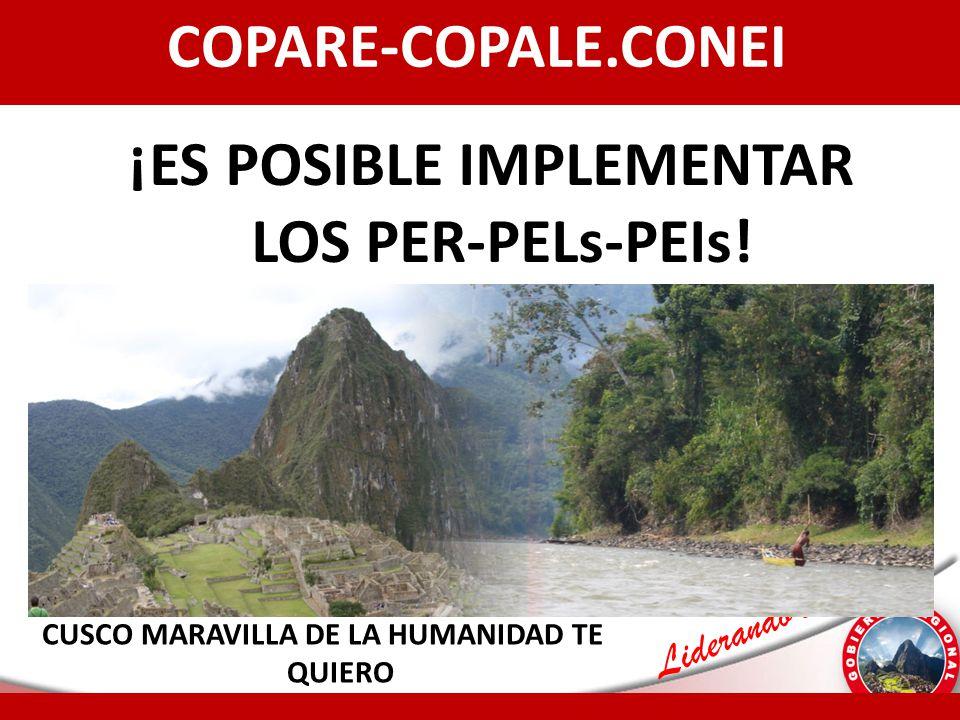 Liderando el Cambio COPARE-COPALE.CONEI ¡ES POSIBLE IMPLEMENTAR LOS PER-PELs-PEIs! 15 CUSCO MARAVILLA DE LA HUMANIDAD TE QUIERO