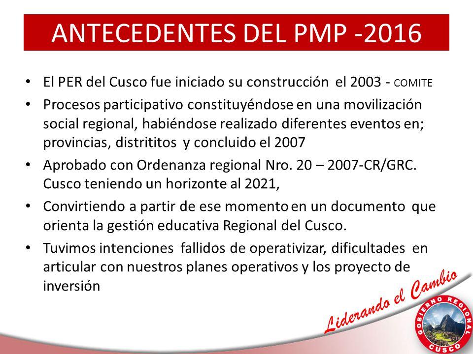 Liderando el Cambio ANTECEDENTES DEL PMP -2016 El PER del Cusco fue iniciado su construcción el 2003 - COMITE Procesos participativo constituyéndose e