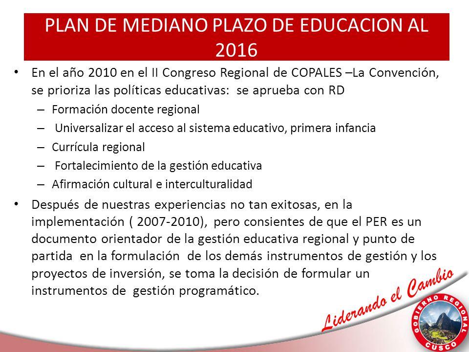 Liderando el Cambio PLAN DE MEDIANO PLAZO DE EDUCACION AL 2016 En el año 2010 en el II Congreso Regional de COPALES –La Convención, se prioriza las po