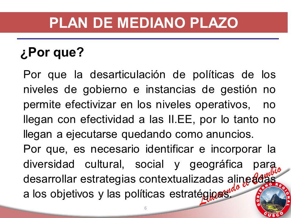 Liderando el Cambio 6 PLAN DE MEDIANO PLAZO ¿Por que? Por que la desarticulación de políticas de los niveles de gobierno e instancias de gestión no pe