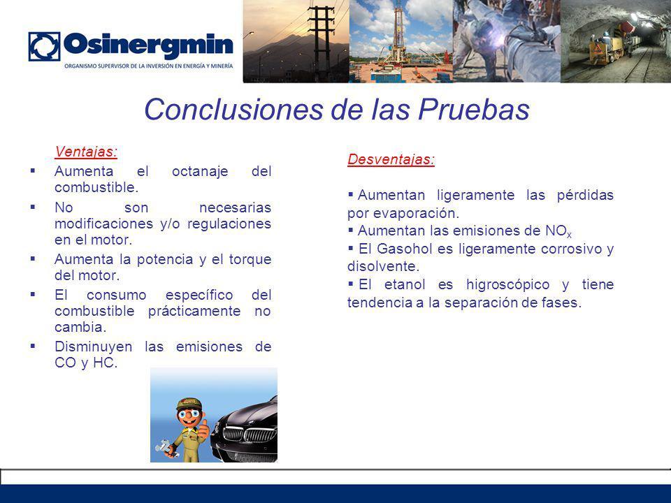 Conclusiones de las Pruebas Ventajas: Aumenta el octanaje del combustible. No son necesarias modificaciones y/o regulaciones en el motor. Aumenta la p