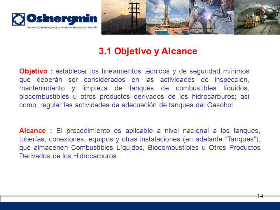 14 3.1 Objetivo y Alcance Objetivo : establecer los lineamientos técnicos y de seguridad mínimos que deberán ser considerados en las actividades de in