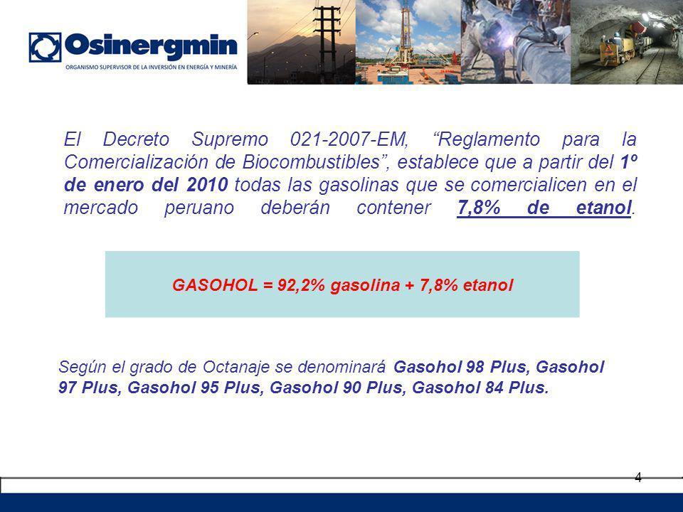 4 El Decreto Supremo 021-2007-EM, Reglamento para la Comercialización de Biocombustibles, establece que a partir del 1º de enero del 2010 todas las ga