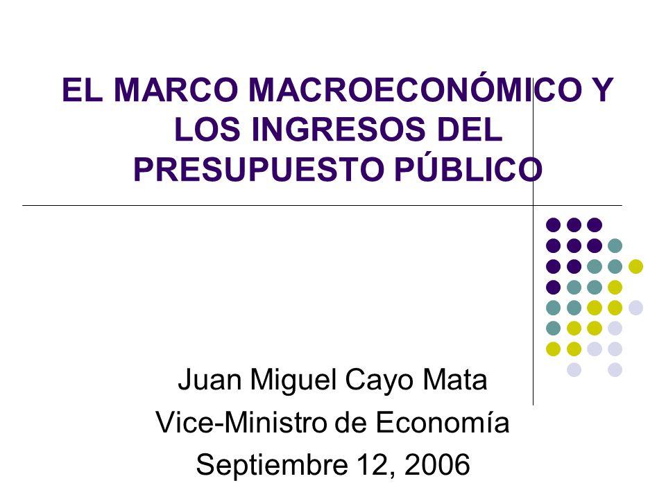 EL MARCO MACROECONÓMICO Y LOS INGRESOS DEL PRESUPUESTO PÚBLICO Juan Miguel Cayo Mata Vice-Ministro de Economía Septiembre 12, 2006