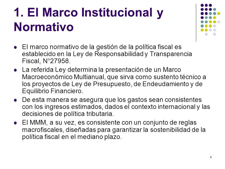 4 El marco normativo de la gestión de la política fiscal es establecido en la Ley de Responsabilidad y Transparencia Fiscal, N°27958.