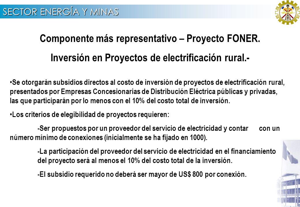 SECTOR ENERGÍA Y MINAS RECURSOS PROGRAMADOS PARA EL AÑO FISCAL 2007 POR COMPONENTE Para la ejecución de sus actividades en el año fiscal 2007, el Programa tiene asignados los recursos que se indican.