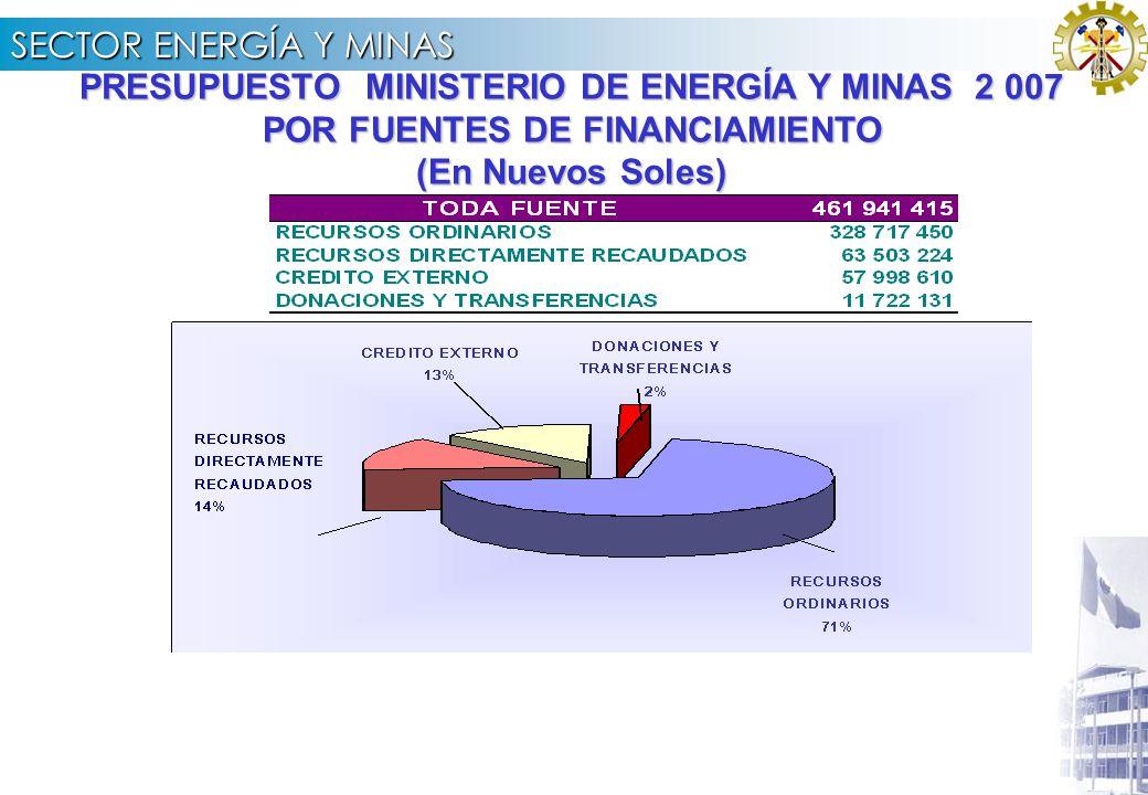 SECTOR ENERGÍA Y MINAS 3.3 PRESUPUESTO ASIGNADO 2007 POR FUENTE DE FINANCIAMIENTO UE N° 003 UGP – Proyecto FONER (En Nuevos Soles) (*) Incluye Bienes y Servicios