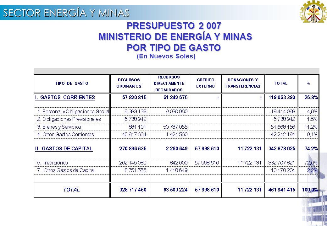 SECTOR ENERGÍA Y MINAS PRESUPUESTO 2 007 MINISTERIO DE ENERGÍA Y MINAS POR TIPO DE GASTO MINISTERIO DE ENERGÍA Y MINAS POR TIPO DE GASTO (En Nuevos Soles)