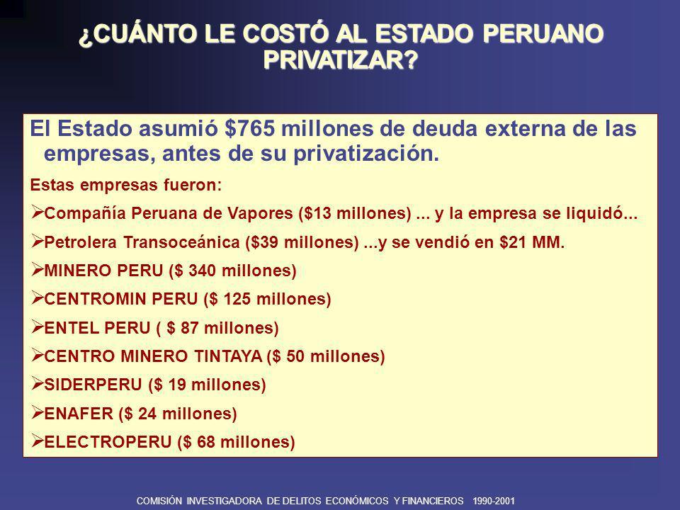 COMISIÓN INVESTIGADORA DE DELITOS ECONÓMICOS Y FINANCIEROS 1990-2001 El Estado asumió $695 millones de Deuda Interna de las empresas, incluyendo $ 210 millones de deuda tributaria.