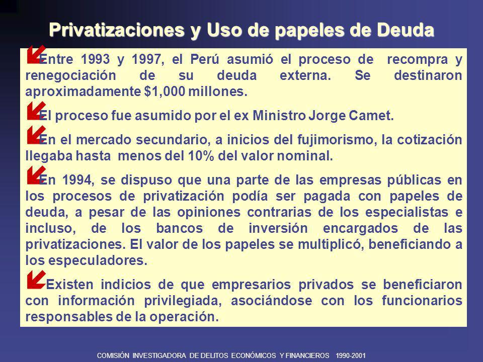 COMISIÓN INVESTIGADORA DE DELITOS ECONÓMICOS Y FINANCIEROS 1990-2001 í El PERU PRIVATIZATION & DEVELOPMENT FUND Es una empresa de inversiones para participar en privatizaciones capitalizando papeles de deuda elegible.