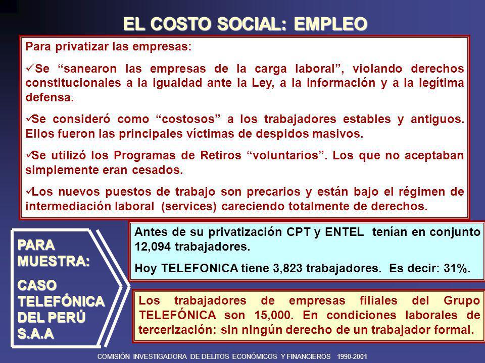 COMISIÓN INVESTIGADORA DE DELITOS ECONÓMICOS Y FINANCIEROS 1990-2001 EN CUANTO A LAS NUEVAS INVERSIONES...