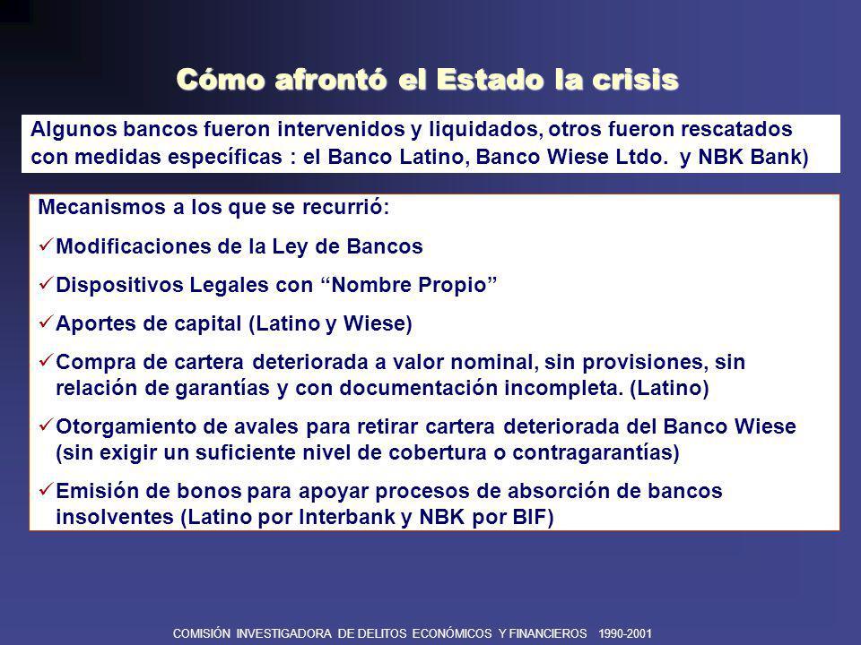 COMISIÓN INVESTIGADORA DE DELITOS ECONÓMICOS Y FINANCIEROS 1990-2001 DEFICIENCIAS EN EL SALVATAJE DE BANCOS No se cumplió con el rol preventivo de crisis bancarias.