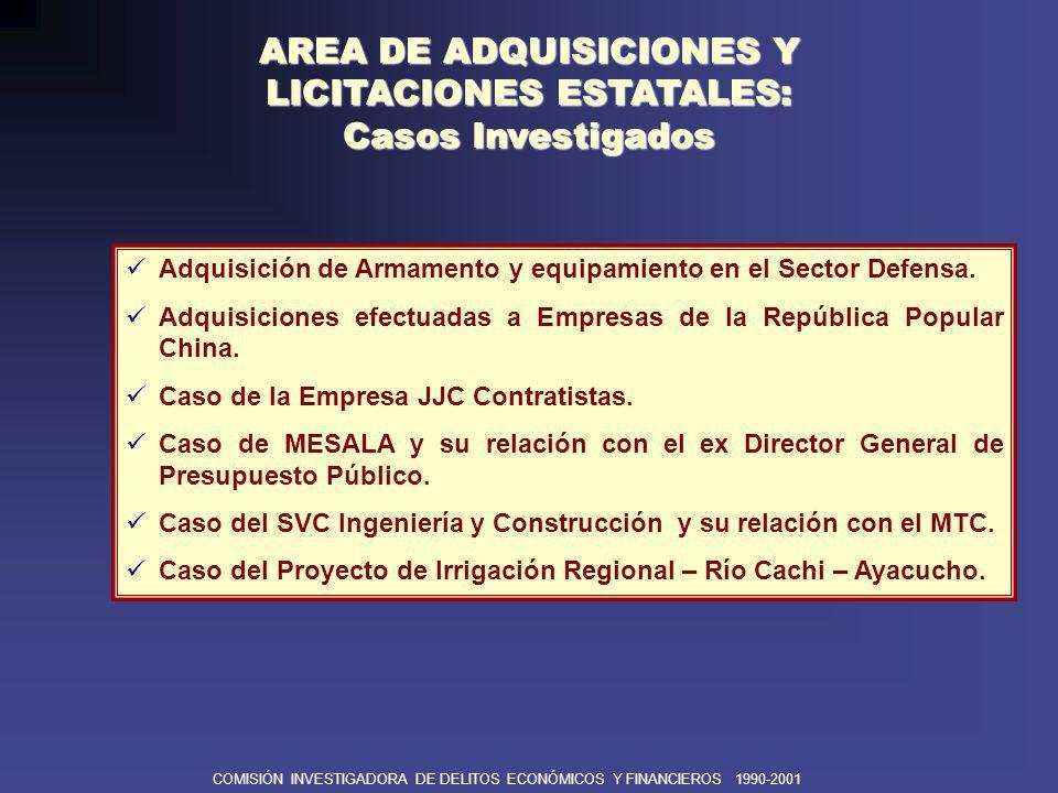 COMISIÓN INVESTIGADORA DE DELITOS ECONÓMICOS Y FINANCIEROS 1990-2001 AREA DE ADQUISICIONES Y LICITACIONES ESTATALES: RECURSOS COMPROMETIDOS FONDOS UTILIZADOS PARA COMPRA DE ARMAMENTO POR LAS FFAA Y FFPP CON NORMAS SECRETAS (1990-2000) RECURSOS EJÉRCITO MARINA AVIACION INTERIOR TOTAL Privatización 108 434,000 105 195,000 778 310,000 998 588,000 Ordinarios 32 195,000 99 743,000 93 917,000 228 124,000 453 979,000 Recaudados Directamente 14 822,000 31 407,000 37 551,000 - 83 780,000 Partida Especial 1/ 105 340,000 33 796.000 33 268,000 - 172 404,000 Endeudamiento Externo 47 115,000 14 621,000 79 173,000 36 015,000 176 924,000 TOTAL US$ 307 906,000 284 762,000 1,022 219,000 270 788,000 1,885 675,000 Los actos delictivos en la compra de armamento debilitaron la capacidad operativa de nuestras tropas, en pleno conflicto fronterizo con Ecuador entre 1994 y 1998, lo que comprometió seriamente nuestra soberanía e integridad territorial en la búsqueda de un Tratado diplomático.