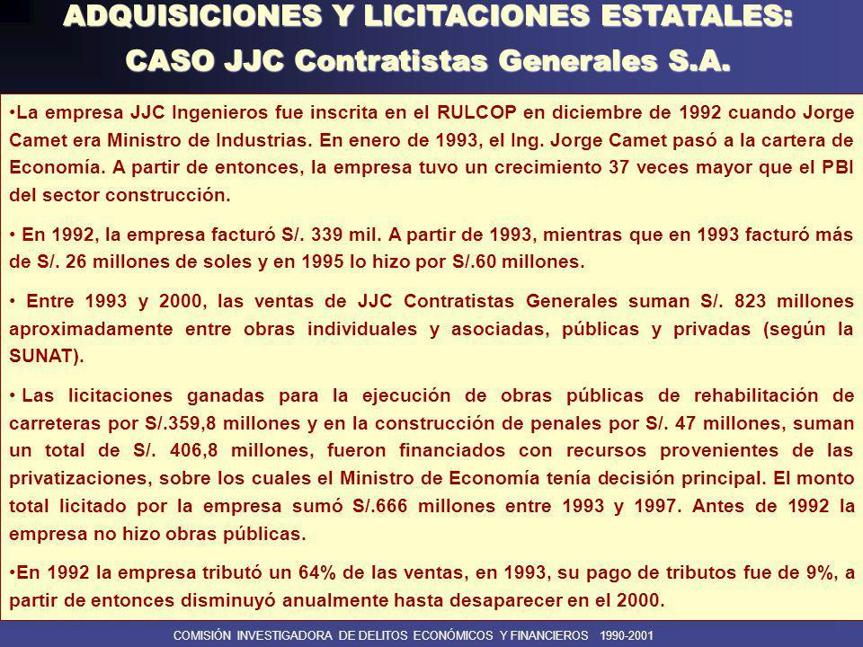 COMISIÓN INVESTIGADORA DE DELITOS ECONÓMICOS Y FINANCIEROS 1990-2001 ADQUISICIONES Y LICITACIONES ESTATALES: CASO MESALA Y EL SR.