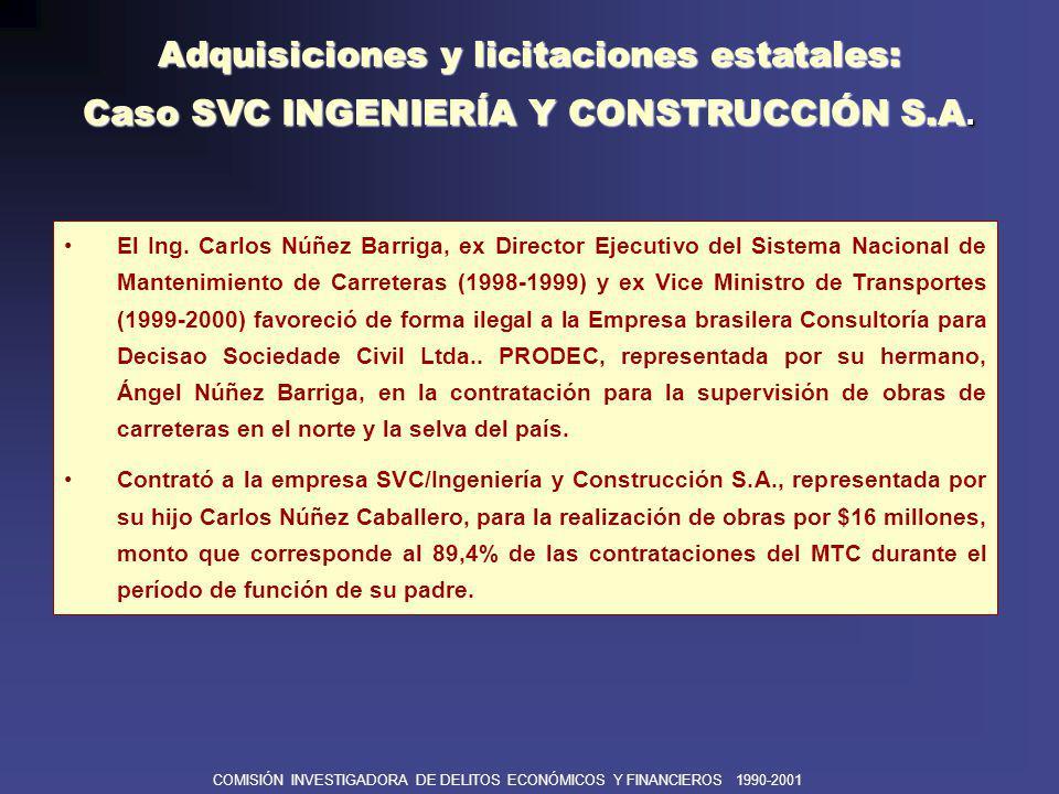 COMISIÓN INVESTIGADORA DE DELITOS ECONÓMICOS Y FINANCIEROS 1990-2001 Contraloría General de la República.