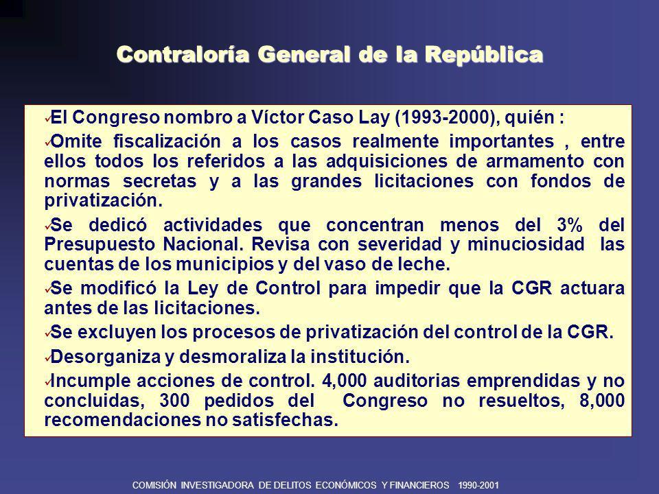 COMISIÓN INVESTIGADORA DE DELITOS ECONÓMICOS Y FINANCIEROS 1990-2001 SUPERINTENDENCIA NACIONAL DE ADMINISTRACIÓN TRIBUTARIA Efectiva reorganización institucional con Manuel Estela, quien logra autonomía y trabaja con profesionalismo y neutralidad.
