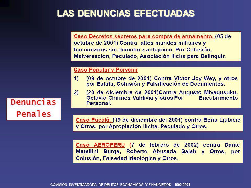 COMISIÓN INVESTIGADORA DE DELITOS ECONÓMICOS Y FINANCIEROS 1990-2001 LAS DENUNCIAS EFECTUADAS Caso Fondo Económico Especial (8 de marzo del 2002), contra Jorge Arana Coha, Absalón Vásquez y Otros, por Negociación Incompatible y Peculado.