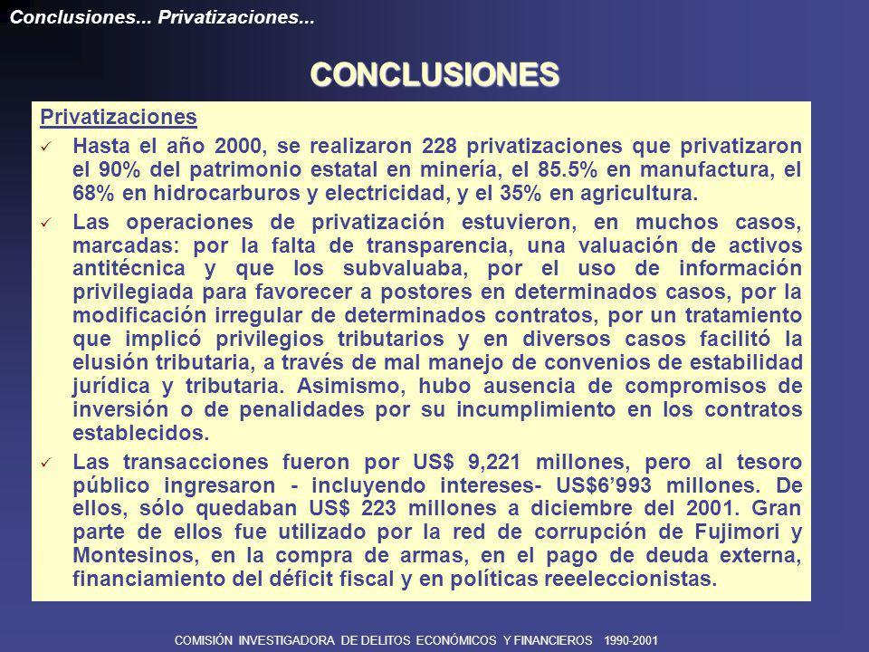 COMISIÓN INVESTIGADORA DE DELITOS ECONÓMICOS Y FINANCIEROS 1990-2001 Privatizaciones De las diferentes modalidades de privatización que estipulaba el Decreto Legislativo 674 (Ley de promoción de la inversión privada), se priorizó el mecanismo de venta de acciones.