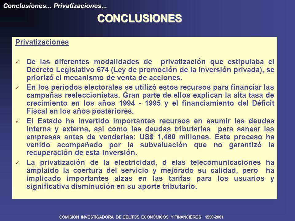 COMISIÓN INVESTIGADORA DE DELITOS ECONÓMICOS Y FINANCIEROS 1990-2001 CONCLUSIONES Existieron Irregularidades en la aplicación de los Convenios de Estabilidad Tributaria para la elusión de impuestos.