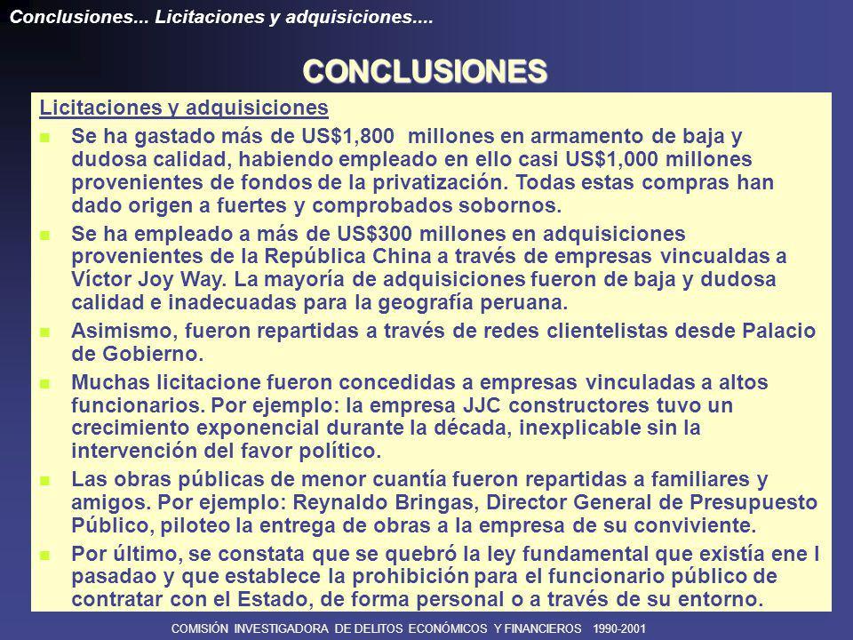 COMISIÓN INVESTIGADORA DE DELITOS ECONÓMICOS Y FINANCIEROS 1990-2001 Organismos de control Contraloría General de la República Clausurada después del golpe del 5 de abril.
